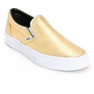 Gold Metallic Vans Slip Ons